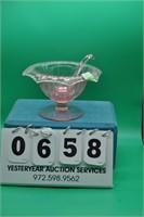 Vintage pink depression glass bowl w/ sauce ladle
