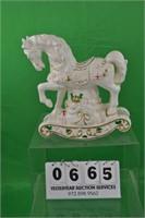 Porcelain Rocking horse Christmas theme