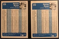(2) Nolan Ryan 1984 Fleer vintage baseball cards