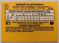 Greg Maddux 1987 Donruss rookie baseball card