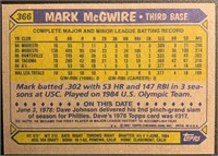 Mark McGwire 1987 Topps baseball card