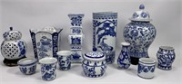 Blue and white china vases and flowerpots: