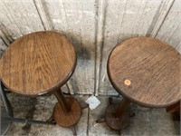"PAIR OF WOODEN PEDESTALS, 32"" TALL"