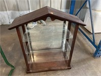 WOODEN DISPLAY WITH GLASS SHELVES