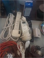 LOT OF POWER SURGE PROTECTORS, EXTENSION CORDS,