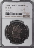 $1 1795 2 LEAVES. NGC VF35