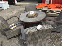 Heritage five piece fire pit chat set MSRP $1799