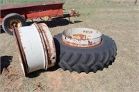 2 Tractor Dual Rims, 1- 18.4-38 6 Ply Tire