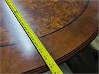 vnt. wood round table & rose back chairs