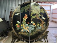 beautiful round Oriental screen w/ Fu Dogs