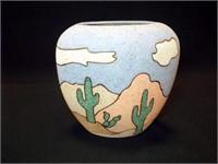 """Pottery Vase, marked Anne Burnett, 8.5"""""""