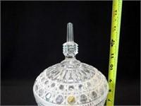 """Pedestal Bowl with Lid, Prisms, 13.5"""""""
