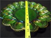 "Carnival Glass Green Egg Dish, 11"""
