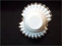 "Milkglass Silver Crest Basket, 7"""