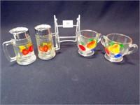 Glass S & P, Cream & Sugar, painted (4)