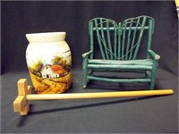 Painted Crock, Wood Paddle, Stick Bench
