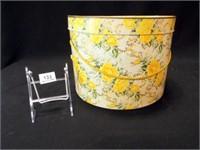 "Yellow Rose Hat Box, 12""x 9"""