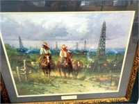 """G. Harvey, """"Oil Patch Cowhands"""", framed"""