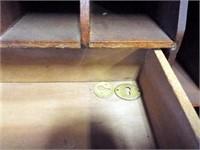 Wood Secretary Desk, Display Cabinet