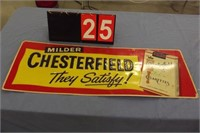 "CHESTERFIELD CIGARETTE TIN SIGN 24"" X 12"""