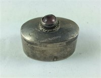 Sterling silver and amethyst taxco pill box