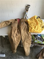 Pair of Carhartt Coverall's & Rain Suit