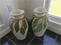 2 Large Ceramic Vases with Leaf Design