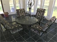 """Aluminum 42"""" Round Outdoor Dining Set w/ 4 Chairs"""