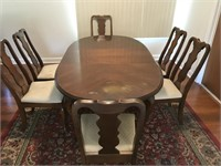 Queen Anne Walnut Dining Table & Matching Chairs