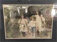 Victorian Children Playing in Garden Print