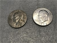 1972 & 1974 Eisenhower IKE Dollar (Clad)