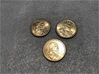 3 2000 Sacagawea Dollar Coins