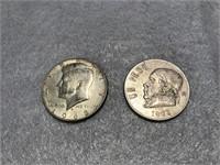 1968 Kennedy Half Dollar & 1971 Mexican Paso