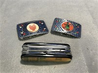 2 Stainless Steel Belt Buckles & Swiss Army Style