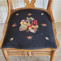 Antique Oak Side Chair With Needlepointed Seat