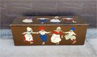 Vintage Folk Carved & Painted Dutch Children Chest