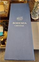 "23"" Czechoslovakian Bohemian Blue & Crystal Vase"