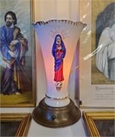 Vintage Religious Prints & Ceramic  Lamp