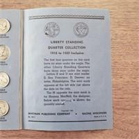 US Quarter Coin Book 12 Silver Quarters 1916-1930