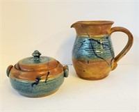 Hand Thrown JEM Pottery Pitcher & Covered Bowl