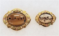 Vintage Moss Agate Jewelry 12 K GF Brooches