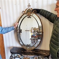 Contemporary Marble Top Hall Table & Wall Mirror