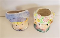 Vintage Girl & Boy Relpo & Japan Head Vases