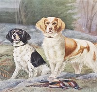 Antique 19th C Print Jerry & Jack Hunting Dogs