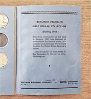 US Coin Album 20 Franklin Silver Half Dollars
