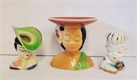 """6"""" Shawnee & 2 Other Small Lady Head Vases"""