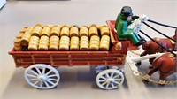 """1963 Budweiser 31"""" Cast Iron Clydesdale Beer Wagon"""