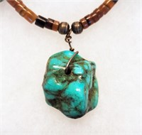 """16"""" Turquoise Nugget & Heishi Necklace"""