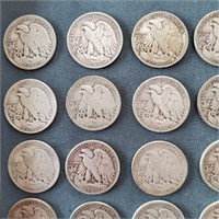 24 US Liberty Standing Silver Half Dollar Coins