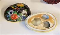 Chinese Soapstone Carving Oriental Fan Mirror Etc